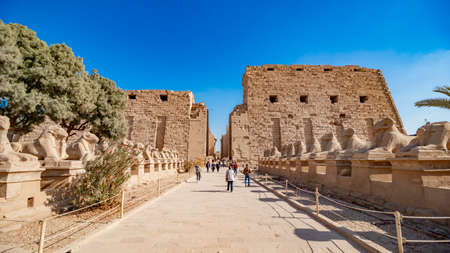 Luxor, Egypt - January 2020: Karnak Temple in Luxor, Egypt. The Karnak Temple Complex, commonly known as Karnak, from Arabic Khurnak meaning fortified village , comprises a vast mix of decayed temples, chapels, pylons, and other buildings in Egypt. It is Editorial
