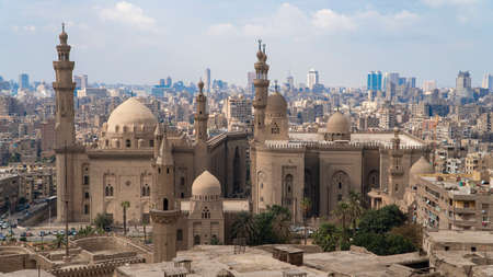 Aerial view of the old part of Cairo. Mosque-Madrassa of Sultan Hassan. Cairo. Egypt. Timelapse Stok Fotoğraf