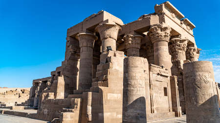 Temple of Kom Ombo. Kom Ombo is an agricultural town in Egypt famous for the Temple of Kom Ombo. It was originally an Egyptian city called Nubt, meaning City of Gold. Nubt is also known as Nubet or Nubyt It became a Greek settlement during the Greco-Roman Period Stok Fotoğraf