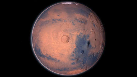 Mars Planet Rotating in the outer space.. Orbiting Planet Mars. Traveling to the red planet Mars in space. Seamless loop.
