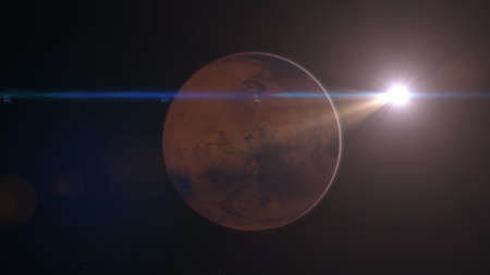 Mars Planet Rotating in the outer space.. Orbiting Planet Mars. Traveling to the red planet Mars in space. 스톡 콘텐츠