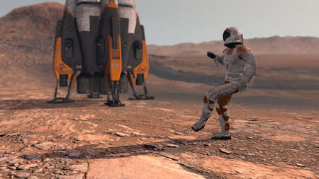 Astronaut dancing on Mars red planet. Exploring Mission To Mars. Futuristic Colonization and Space Exploration Concept. Colony on Mars. Elements of this video furnished by NASA