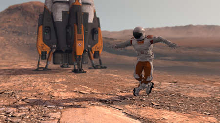 Astronaut dancing on Mars red planet. Exploring Mission To Mars. Futuristic Colonization and Space Exploration Concept. Colony on Mars.