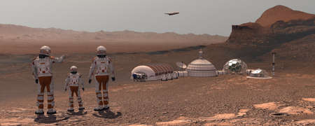 Family colonists immigrants to Mars, a man, a woman and a child admire the Martian landscape, the city and the spaceship. Exploring mission to mars. Futuristic colonization and space exploration concept. 3d rendering.