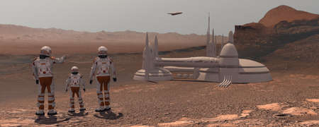 Family colonists immigrants to Mars, a man, a woman and a child admire the Martian landscape, the city and the spaceship. Exploring mission to mars. Futuristic colonization and space exploration concept. 3d rendering. Zdjęcie Seryjne