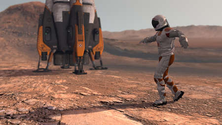 Astronaut dancing on Mars red planet. Exploring Mission To Mars. Futuristic Colonization and Space Exploration Concept. Colony on Mars.   3d rendering