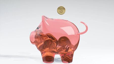 Coins fall into a pink glass piggy bank - a symbol of wealth, frugality and effective investment planning and business. Symbol of financial success. Cash money savings. 3d rendering.