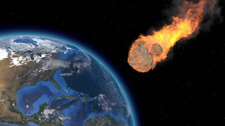 Asteroid Impact on Earth. Asteroid, comet, meteorite glows, enters the earth's atmosphere. 3d rendering. Meteor Rain. Kameta tail. End of the world. Elements of this image furnished by NASA