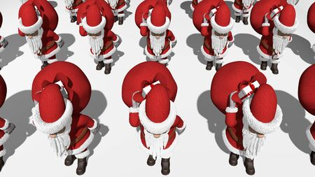 3D rendering. Santa Claus army carries bags of gifts. 3D rendering.