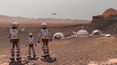 Family colonists immigrants to Mars, a man, a woman and a child admire the Martian landscape, the city and the spaceship. Exploring mission to mars. Futuristic colonization and space exploration concept. 3d rendering. Elements of this video furnished