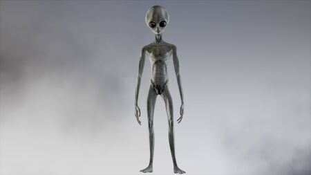 Scary gray alien walks and looks blinking on a dark smoky background. UFO futuristic concept. 3D rendering