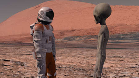 Astronaut meets a Martian on Mars. First contact. Alien on Mars. Exploring mission to mars. Colonization and space exploration concept. 3d rendering. 스톡 콘텐츠