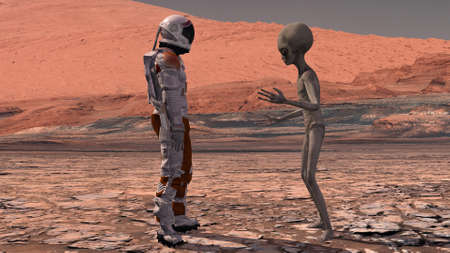 Astronaut meets a Martian on Mars. First contact. Alien on Mars. Exploring mission to mars. Colonization and space exploration concept. 3d rendering.