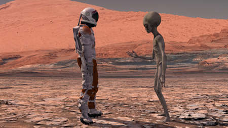 Astronaut meets a Martian on Mars. First contact. Alien on Mars. Exploring mission to mars. Colonization and space exploration concept. 3d rendering. Elements of this video furnished by NASA