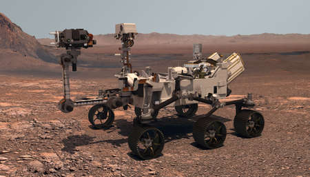 Mars. The Perseverance rover deploys its equipment against the backdrop of a true Martian landscape. Exploring Mission To Mars. Colony on Mars. Elements of this video furnished by NASA. 3d rendering Stock Photo
