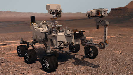 Mars. The Perseverance rover deploys its equipment against the backdrop of a true Martian landscape. Exploring Mission To Mars. Colony on Mars. Elements of this video furnished by NASA. 3d rendering Archivio Fotografico