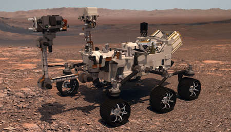 Mars. The Perseverance rover deploys its equipment against the backdrop of a true Martian landscape. Exploring Mission To Mars. Colony on Mars. Elements of this video furnished by NASA. 3d rendering