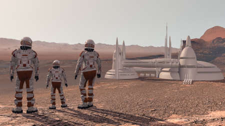 Family colonists immigrants to Mars, a man, a woman and a child admire the Martian landscape, the city and the spaceship.