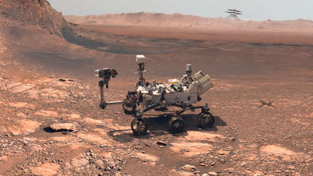 Mars. The Perseverance rover deploys its equipment against the backdrop of a true Martian landscape. Exploring Mission To Mars. Colony on Mars.