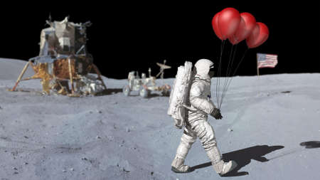Astronaut walking on the moon with red balloons. 3d rendering.