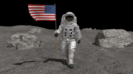 Astronaut walking on the moon with American flag. CG Animation. 3d rendering. Stok Fotoğraf