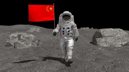 Astronaut walking on the moon with Chinese flag. CG Animation. 3d rendering.