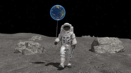 Astronaut with a ball in the shape of the Earth is walking on the moon. 3d rendering. Stok Fotoğraf