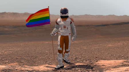 Astronaut walking on Mars with LGBT flag. Exploring Mission To Mars Red Planet. Futuristic Colonization Space Exploration Concept. 3d rendering. Colony on Mars.