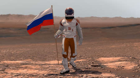 Astronaut walking on Mars with Russian flag. Exploring Mission To Mars Red Planet. Futuristic Colonization Space Exploration Concept. 3d rendering. Colony on Mars. Stok Fotoğraf