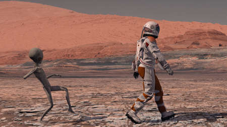 Martian sneaks behind an astronaut on Mars. Astronaut meets a Martian on Mars. First contact. Alien on Mars. 3d rendering. Stok Fotoğraf