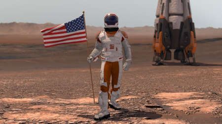 Astronaut walking on Mars with American flag. Exploring Mission To Mars Red Planet. Futuristic Colonization Space Exploration Concept. 3d rendering. Colony on Mars.