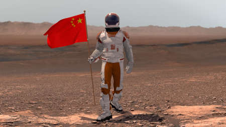 Astronaut walking on Mars with Chinese flag. Exploring Mission To Mars Red Planet. Futuristic Colonization Space Exploration Concept. 3d rendering. Colony on Mars.