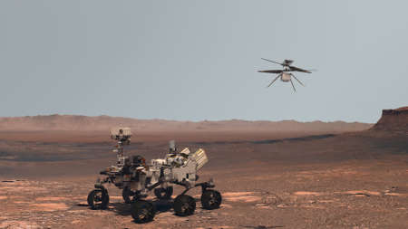 Mars. Perseverance rover and Ingenuity helicopter explore Mars against the backdrop of a real Martian landscape. 3d rendering.