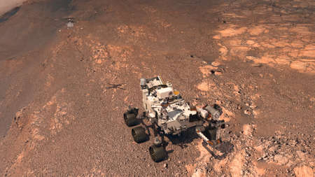 Mars. The Perseverance rover deploys its equipment against the backdrop of a true Martian landscape. Exploring Mission To Mars. Colony on Mars. 3d rendering. Stok Fotoğraf