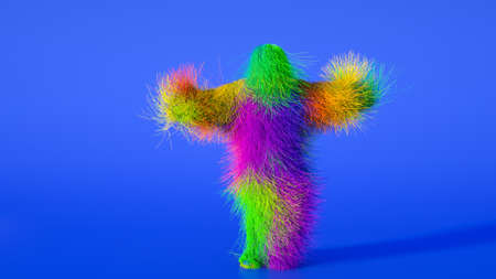 Funny hairy multicolored monster man character dancing . Furry beast having dancing, fur bright funny fluffy character, snowman, seamless motion design. Stok Fotoğraf