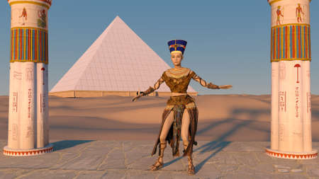 Queen Nefertiti dancing in front of the great pyramid of Giza and a view of the desert in the ancient temple. Historical animation. The Great Pyramids In Giza Valley, Cairo, Egypt. 3d rendering.