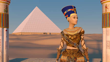 Queen Nefertiti in front of the great pyramid of Giza and a view of the desert in the ancient temple. Historical animation. The Great Pyramids In Giza Valley, Cairo, Egypt. 3d rendering.