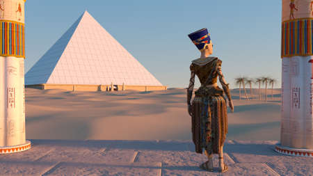Queen Nefertiti admires the pyramids and desert views from the ancient temple. Historical animation. The Great Pyramids In Giza Valley, Cairo, Egypt. 3d rendering. Stok Fotoğraf
