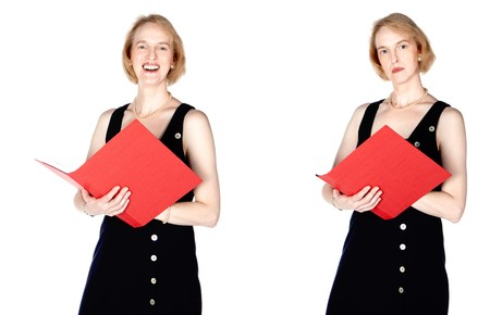 decolletage: A business woman with a red file