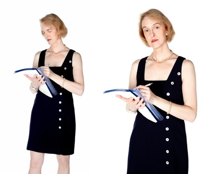 A mature business woman with a blue file Stock Photo - 7873955