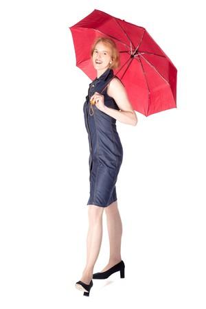 A woman is enjoying the summer rain photo