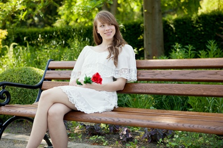 A young beautiful lady is waiting for her boy friend  Stock Photo - 10450664