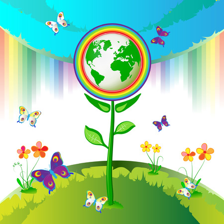 Eco Earth flowers, garden, butterflies and rainbow  Stock Vector - 8132464