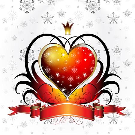 Valentijn ontwerp; glanzend rood hart met lint met sneeuwvlokken achtergrond