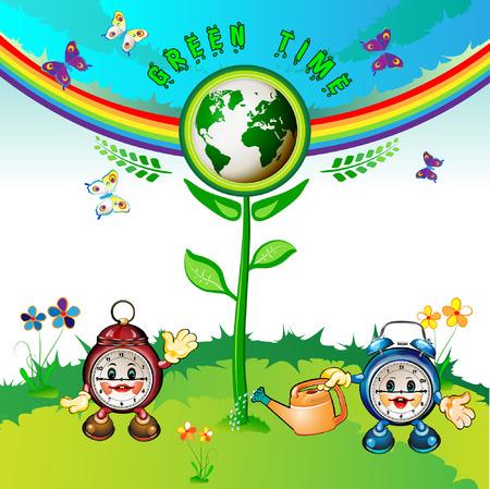 Eco Earth , cartoon clocks, flowers, butterflies and rainbow Stock Vector - 8132463