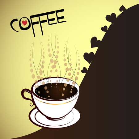 cup of coffee with heart of love Vector