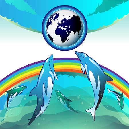 Eco Earth, clean water, diving dolphin Stock Vector - 8132466