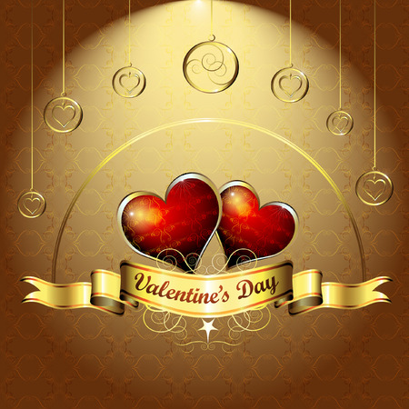 Valentines day, illustration with hearts of love  Vector