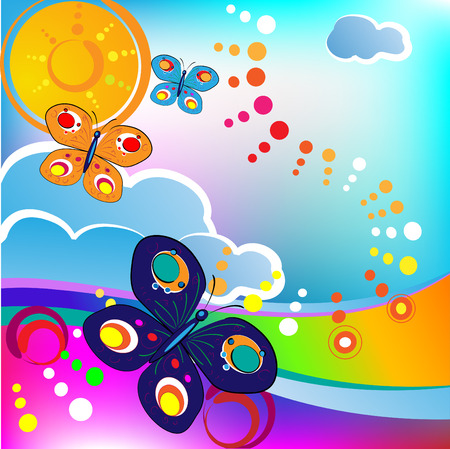 springtime feeling; butterflies and clouds, circles Stock Vector - 8193634