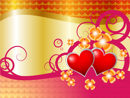 hearts of love with flowers  Vector